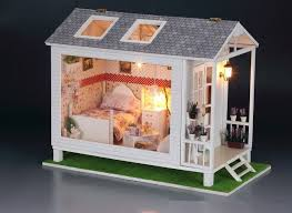 new miniature diy wooden display dollhouse home model kit with w lights gift