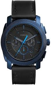 men s fossil machine chronograph black leather watch fs5361 loading zoom