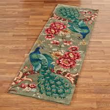 peacock flora runner rug sage 26 x 8