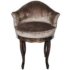 mid century modernist cabriole style swivel vanity stool in metal velvet for