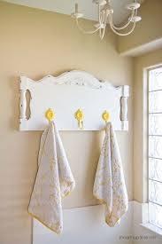 towel hanger ideas. View In Gallery Repurposed Headboard Towel Rack With Yellow Flower Hooks Hanger Ideas H
