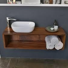 sebastian white rectangular ceramic above counter basin on timber vanity display