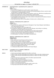Project Administrative Assistant Resume Velvet File Functional