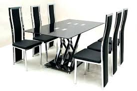 glass top dining table set with 6 pu leather chairs extending