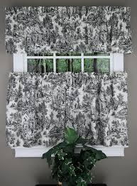 innovative black kitchen curtains and victoria park toile tiers tailored valance black ellis