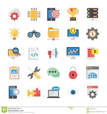 Flat Icons Set Of Seo And Marketing Stock Illustration