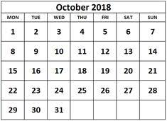 26 Best Blank October 2018 Calendar Images