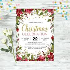 Christmas Invitation Card Details About Christmas Invitation Personalised Party Supplies Floral Invite Xmas Gold