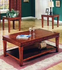 Nailhead Coffee Table Pine Solid Wood Stylish 3pc Coffee Table Set W Nail Head Accents