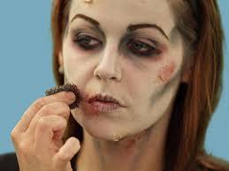 stipple sponge makeup. adding face scars to halloween zombie makeup stipple sponge