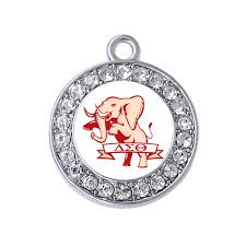Design Sorority Logo Us 13 66 31 Off New Design Student Greek Society Sorority Delta Sigma Theta Elephant Logo Crystal Inlaid Transparent Mirror Effect Metal Pendant In