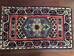 antique folk art hand hooked rug 100 wool