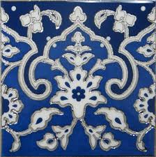 Blue And White Decorative Tiles Blue and White Porcelain Decorative Silver Art Wall Tile 100x100 For 4