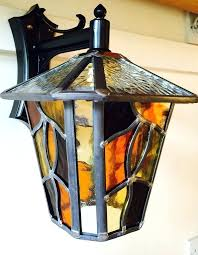 lantern stained glass amber handmade leaded light outdoor lamps