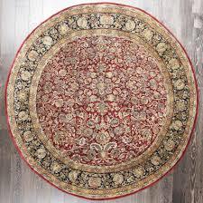 rugsville handmade fl persian garden rust black wool round rug 213213