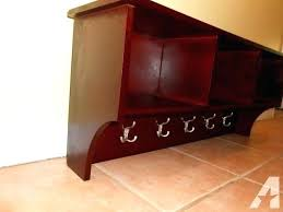 dark cherry floating wall shelf wood with hooks