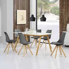 Encasa Esstisch Bambus Mit 6 Stühlen Gepolstert Grau Tisch