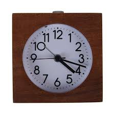 classic small round silent table solid wood square pointer alarm clock lig s8w0