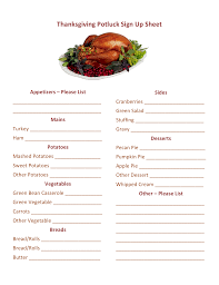Thanksgiving Potluck Sign Up Printable Hmh Designs