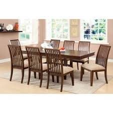 dining set features a rectangular dining table with an leaf and stylish dining chairs with fortably cushioned foam filled cream upholstery seats