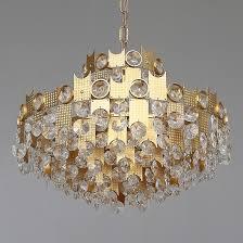 mid century gilt brass crystal glass chandelier by palwa germany