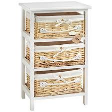 wicker basket cabinet.  Cabinet VonHaus 3 Wicker Basket Storage Bathroom Cabinet Drawers Unit  White On W
