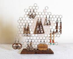 <b>Honeycomb Jewelry Display</b> - Earring and <b>Necklace</b> Holder ...