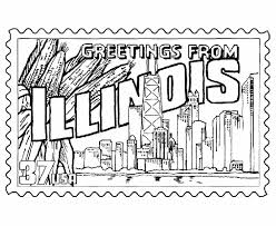 Small Picture Illinois State Stamp Coloring Page Little Kids Learning Ideas