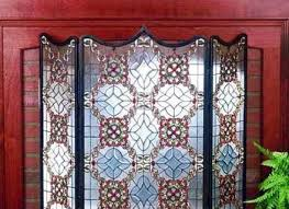 victorian beveled tiffany stained glass fireplace screen