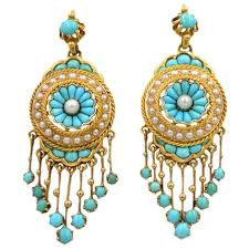 antique victorian 18k gold chandelier earrings with turquoise and pearl
