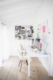 colorful feminine office furniture. Feminine Office Space With Pops Of Pastel Colors, And Sheep Throws Over Mod White Chairs Colorful Furniture S