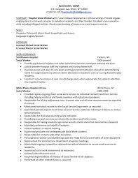 Summary Sample Hospital Social Work Resume Examples With Licensed