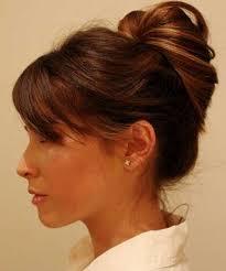 bun hairstyle with bangs