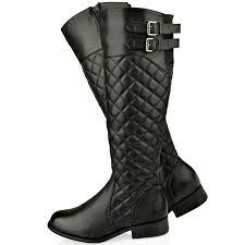 WOMENS LADIES FLAT KNEE HIGH QUILTED RIDING CALF BOOTS GUSSET FAUX ... & WOMENS-LADIES-FLAT-KNEE-HIGH-QUILTED-RIDING-CALF- Adamdwight.com