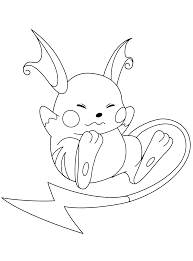 Pokemon Raichu Coloring Pages Get Coloring Pages