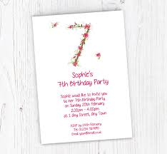 Birthday Invitation Party Floral 7th Birthday Party Invitations