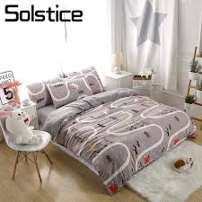solstice home textile gray park cartoon duvet cover pillowcase bed sheet boy kid teenage girl bedding