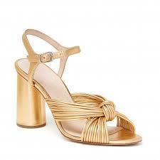 Loeffler Randall Cece Knot Heel Ankle Strap Sandal Gold
