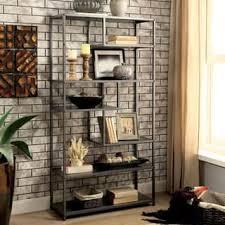 industrial living room furniture. Furniture Of America Logan Dark Grey Industrial Metal Tiered Bookshelf Living Room