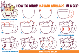 Every character that you imagine i'll draw four you. How To Draw Cute Kawaii Animals And Characters In A Coffee Cup Easy Step By Step Drawing Tutorial For Beginners How To Draw Step By Step Drawing Tutorials