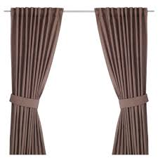Curtains Ingert Curtains With Tie Backs 1 Pair Brown 145x250 Cm Ikea