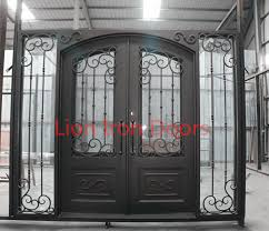 residential metal doors with tempered glass wrought iron front doors