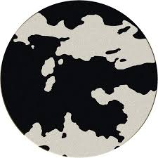 black and white cowhide round rug