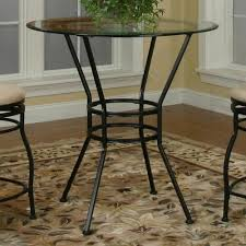 cramco trading company starling round glass pub table w textured black pedestal base