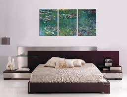 framed office wall art. Water Lilies By Claude Monet Oil Painting Canvas Prints Wall Art Decor Framed Ready To Hang - 3 Panel Large Size 30 60 Inch Modern Giclee Work For Office