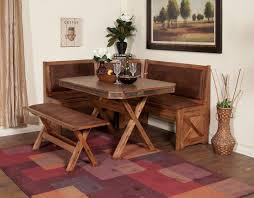 this farm style dinette features cornered bench style seating perfect for your kitchen nook
