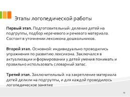 дипломная презентация по логопедии онр  13 Этапы логопедической работы