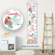 Growth Chart Mermaid Girl Height Chart Personalized Growth Chart Height Chart Kids Room Decor Gifts For Kids Wall Hanging Mermaid