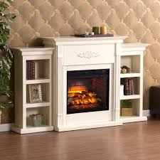 w infrared electric fireplace with bookcases in ivory