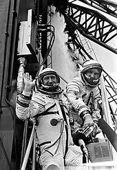 「1965 – Cosmonaut Alexey Leonov, leaving his spacecraft Voskhod 2 for 12 minutes, becomes the first person to walk in space.」の画像検索結果